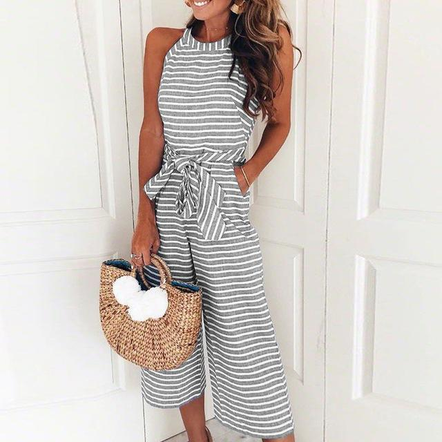 Elegant Sexy Jumpsuits Women Sleeveless Striped Jumpsuit Loose Trousers Wide Leg Pants Rompers Holiday Belted Leotard Bodysuit Breathable