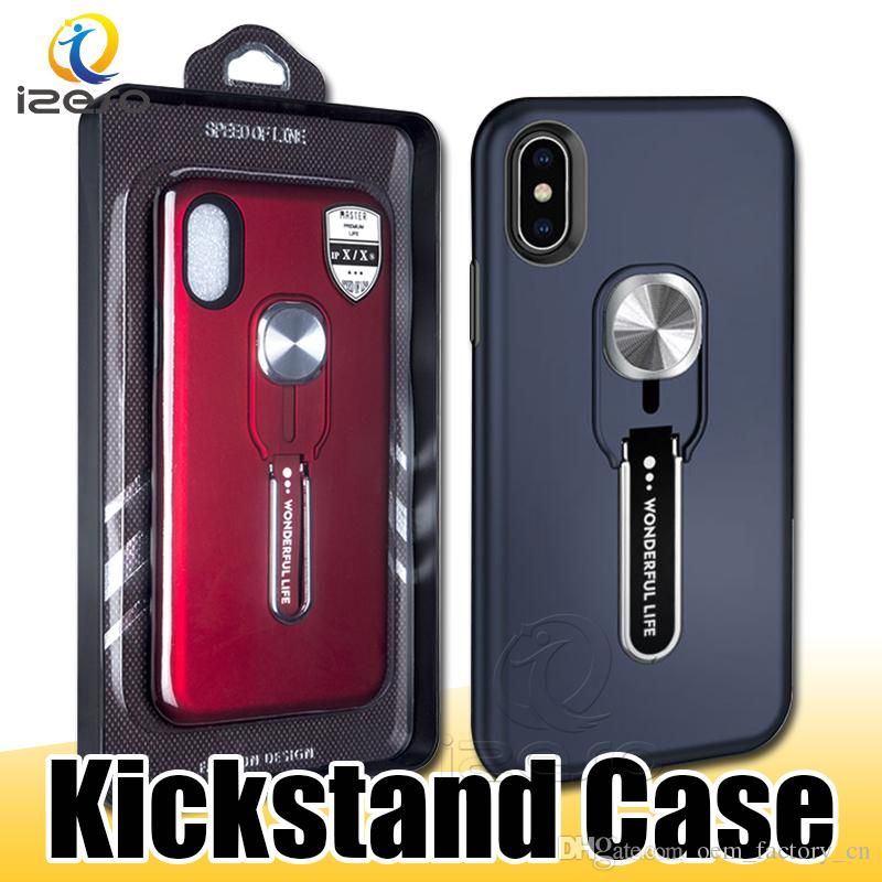 Upgraded Hybrid Kickstand Phone Case for iphone 11 MOTO G7 Power Huawei P30 Samsung S20 Plus Finger Holder Cover with Retail Packaging izeso