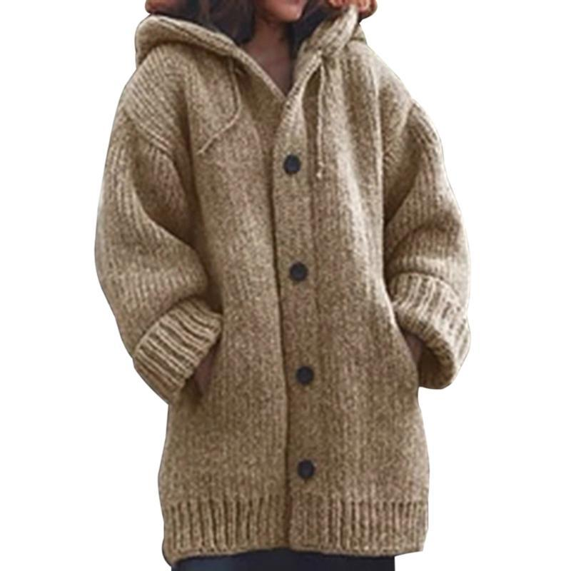Thin Solid Oversize Cardigan Knited Outwears Women Knitwears Autumn Womens Sweaters Casual Winter Fashionable Hooded Sweaters