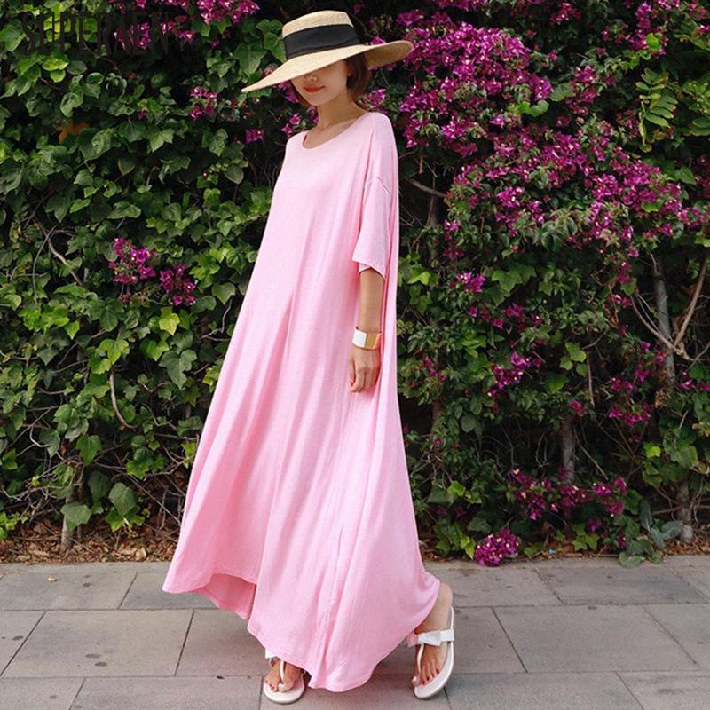 SuperAen 2020 Summer New Long Dress Women Half Sleeve Fashion Casual Ladies Dress Cotton Solid Color Women Clothing