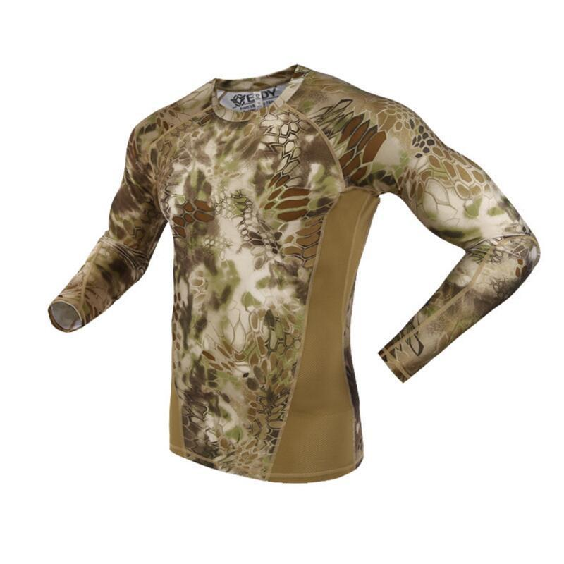 Summer Long Sleeve Military Camouflage T-shirt Men Tactical Army Combat T Shirt Quick Dry Camo Hunt Clothing Casual O-neck Tshir Y190507