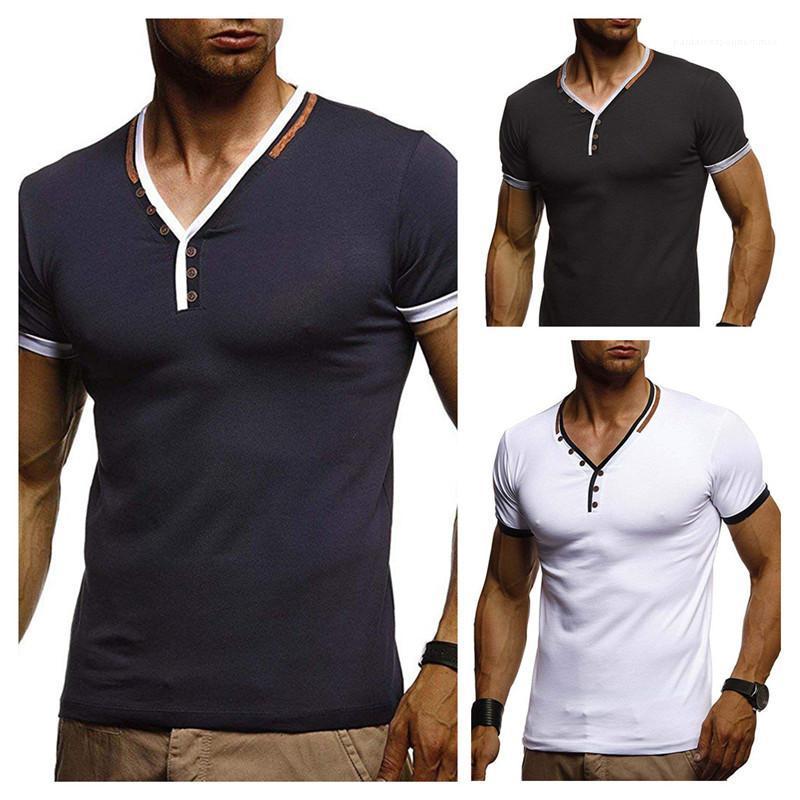 Longueur régulière manches courtes Tops Bouton Hommes lambrissé T-shirt col V rayé Imprimer T-shirts d'été Designer