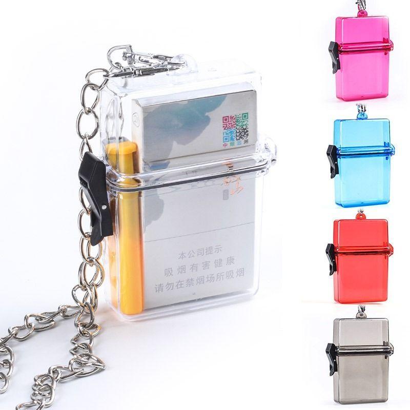 Hots Venda de cigarro caixa de plástico Acessórios Portátil fumadores suspensão Neck Tipo Transparente cigarro Boxt frete grátis