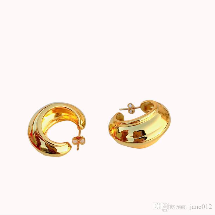 Diseñador americano Pendientes aro pequeño de moderna y elegante con baño de oro aro ancho pernos prisioneros de plata esterlina oído de los pendientes de uñas para mujeres al por mayor