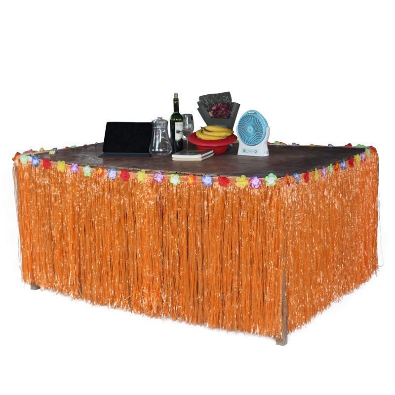 Suministros fiesta de cumpleaños de la boda de la decoración de la flor del hibisco Artificial Grass Tabla Partido Luau hawaiano de la falda de verano vector de la decoración