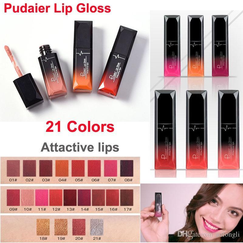 Trucco liquido rossetto Pudaier lip gloss opaco lucido sexy Rossetti rossi 21 colore impermeabile labbra attactive lucida metallico Lipgloss Velvet