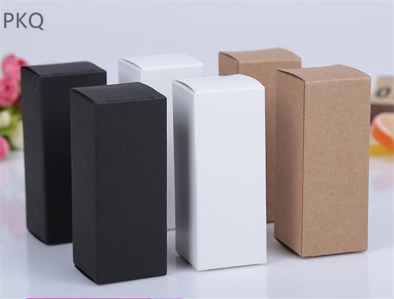 100pcs 10ml / 20ml / 30ml / 50ml / 100ml Beyaz Siyah Kraft Kağıt ambalaj Kutu Damlalık Şişe Kozmetik Partisi Hediye tüpleri karton kutular