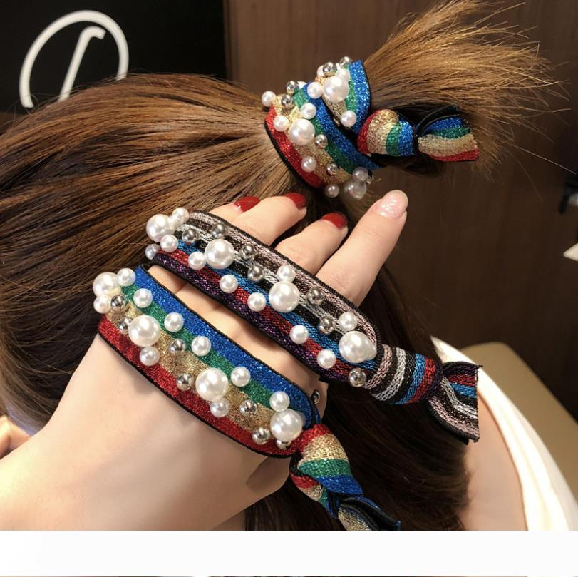Popular Pearl Rivet Rainbow Scrunchie Women Girls Elastic Hair Rubber Bands Accessories For Girls Tie Hair Ring Rope Headdress