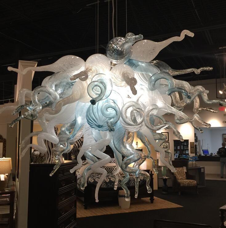 اليد الحديثة المصابيح المصابيح الفاخرة أضواء الثريات للمنزل الصمام المصابيح بيضاء والأزرق مورانو زجاج قلادة الإضاءة مصباح