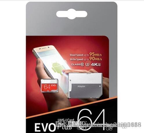 64GB 32GB أسود VS أبيض EVO PLUS EVO + مايكرو SD TF بطاقة فلاش 90MB / ثانية 80MB / ثانية عالية السرعة الفئة 10 الجملة