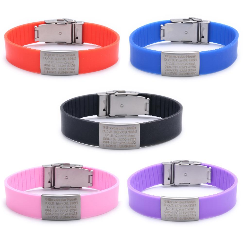 Custom Children ID Bracelet Child Engraved Identification Bracelets Baby SOS Wrist Band Kids Boys ID Safety Silicone Wristbands Y200107