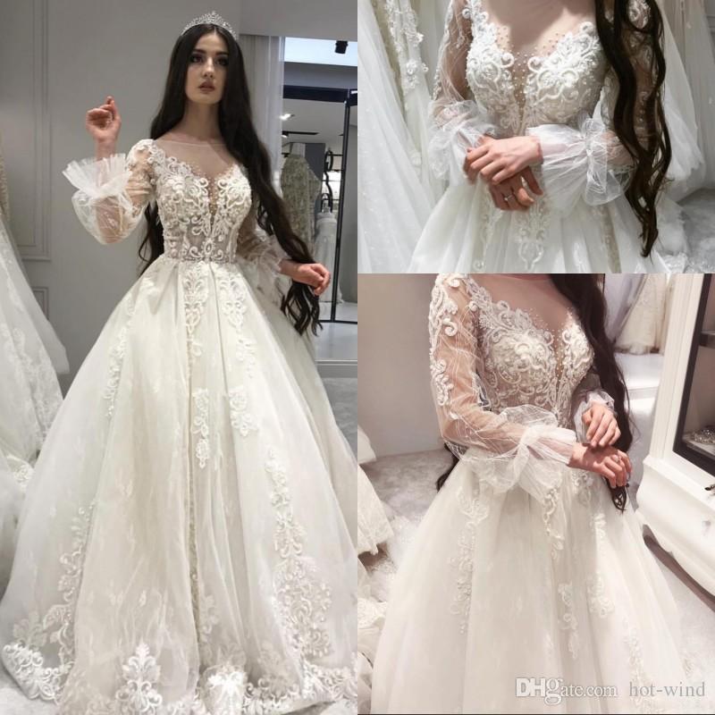Кружева из бисера Урожай роскошных арабских свадебных платьев Sheer шея длинных рукава плюс размером African Bridal платье Elegant Дешевых Шаровых халаты платье