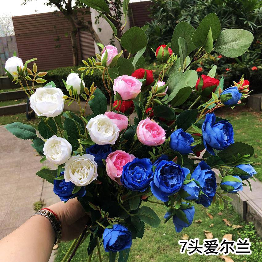 70cm rose artificial flower silk peony artificial flower bouquet 7 big head cheap wedding home decoration fake peony rose