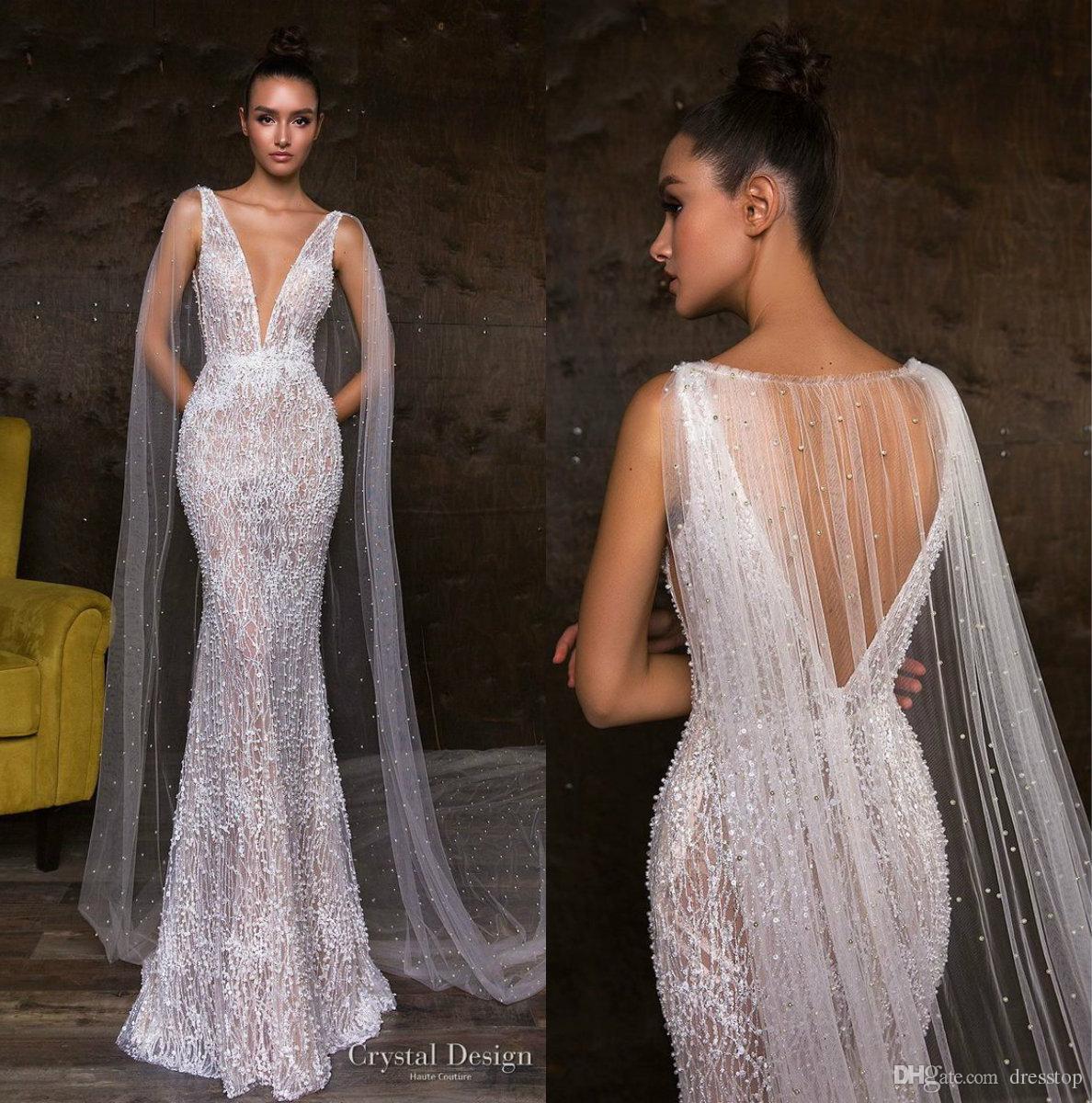 Fabulous Mermaid Wedding Dresses With Pearls Cape V Neck Beading Lace Bridal Gown Vestidos Backless Dubai Beach Wedding Dress Plus Size