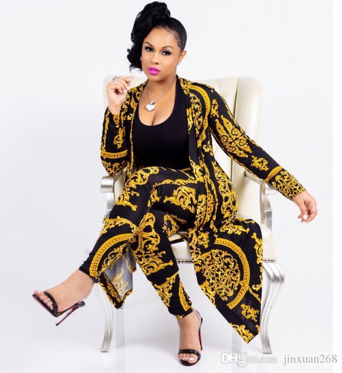 new fashion classic black gold print large size cloak sexy slim pants ladies set Women's Tracksuits