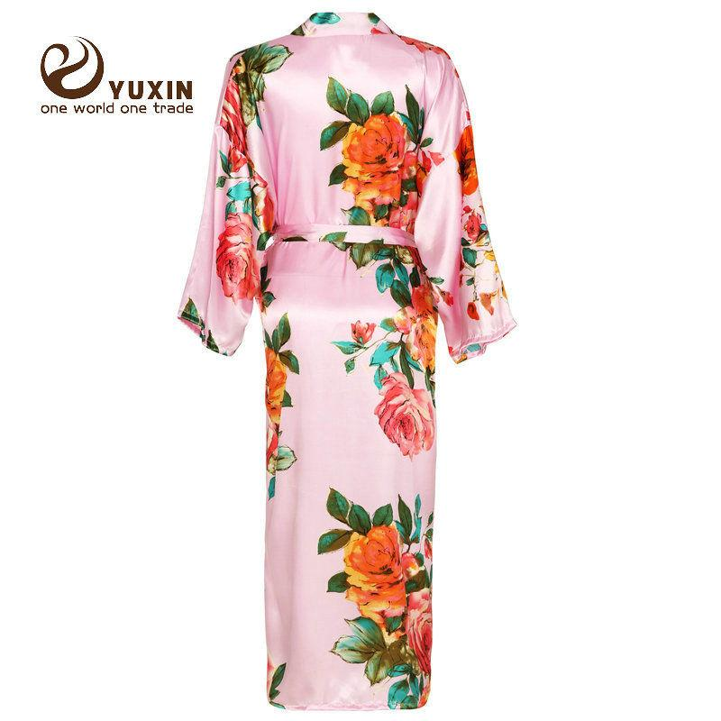 YUXINBRIDAL Longa Grande robe floral noiva de casamento de noiva Kimono dama de honra robe de cetim roupão Noite vestido Pijamas nova