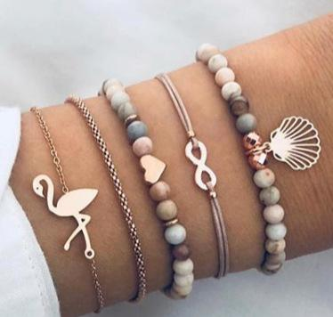 Holiday gift Fashion Jewelry New Flamingo Snake Chain Bracelet Rice Bead Hand String Five-piece Set Bracelet A+++ Free Delivery
