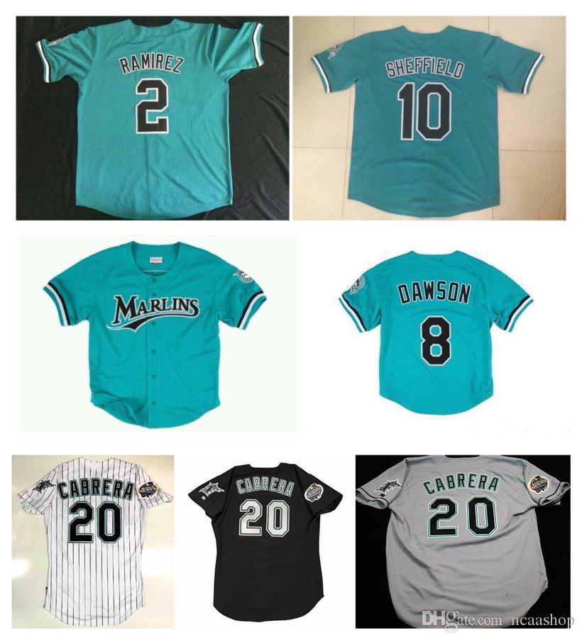 Custom Marlins Jerseys Dawson SHEFFIELD Giancarlo Stanton Florida Miguel Cabrera Dontrelle Willis 2 Hanley Ramirez Baseball Jersey S-XXXL