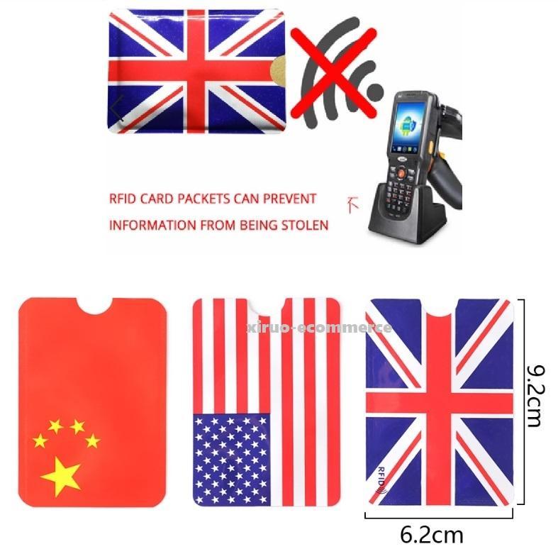 USA UK China Flag Stampa RFID Blocking Holder Blocco della carta ID Bank Card Smart Case antifurto Carta di Credito manica Protector alluminio
