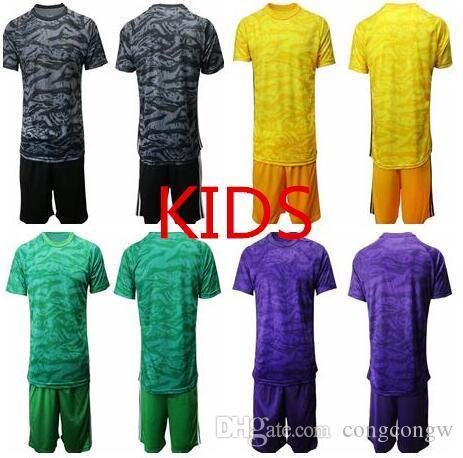 2019 Futbol Formaları Üniforma Kaleci Kiti 19-20 Çocuklar Kaleci Boş T Gömlek Ekibi Olmadan Logo Ile Reklam Uzun Kollu Gençlik Futbol Gömlek