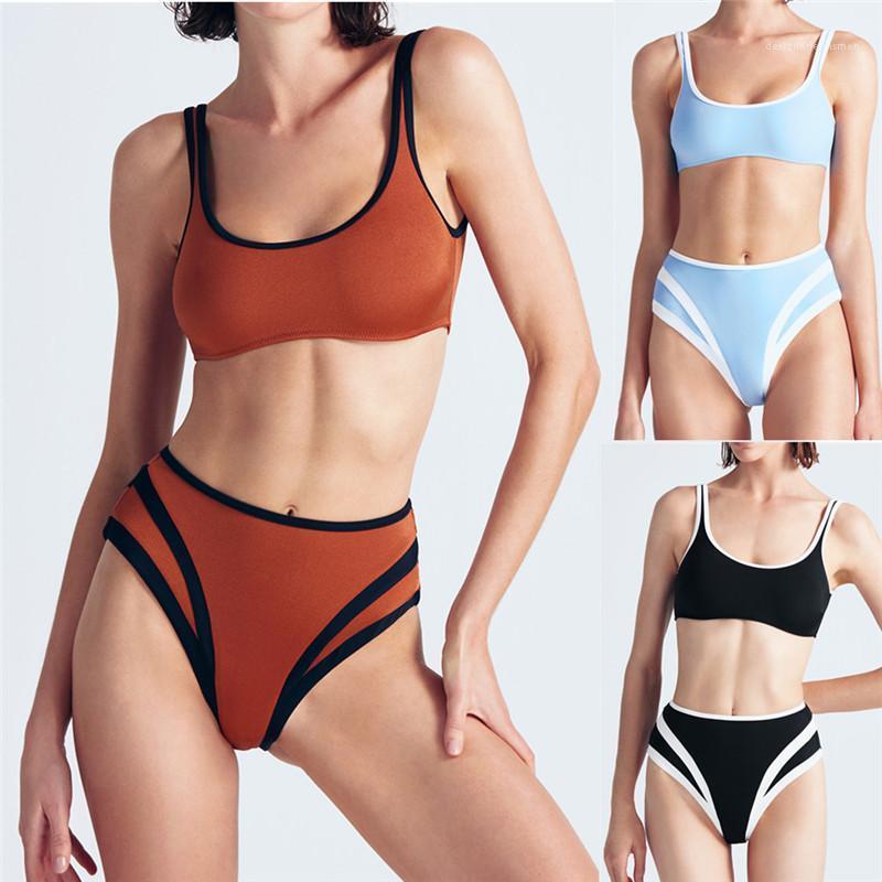 Tankinis Fashion Bikens Womens Bathing Attiti Solid Color Designer Designer Bikini Sexy Senza maniche in vita alta Kckse