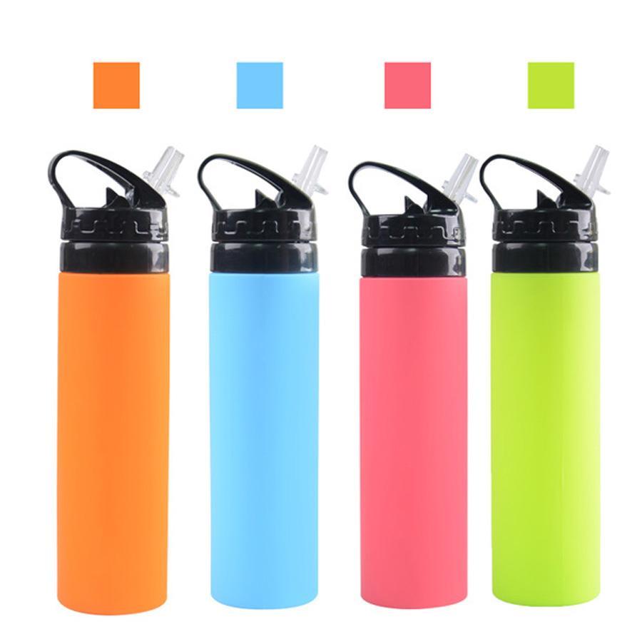 600ml Kreatives Reiten Faltbare Wasserflaschen Outdoor Sports Tragbare Zusammenklappbare Lebensmittelqualität Silikon Wasser Tassen Mit Stroh 0769