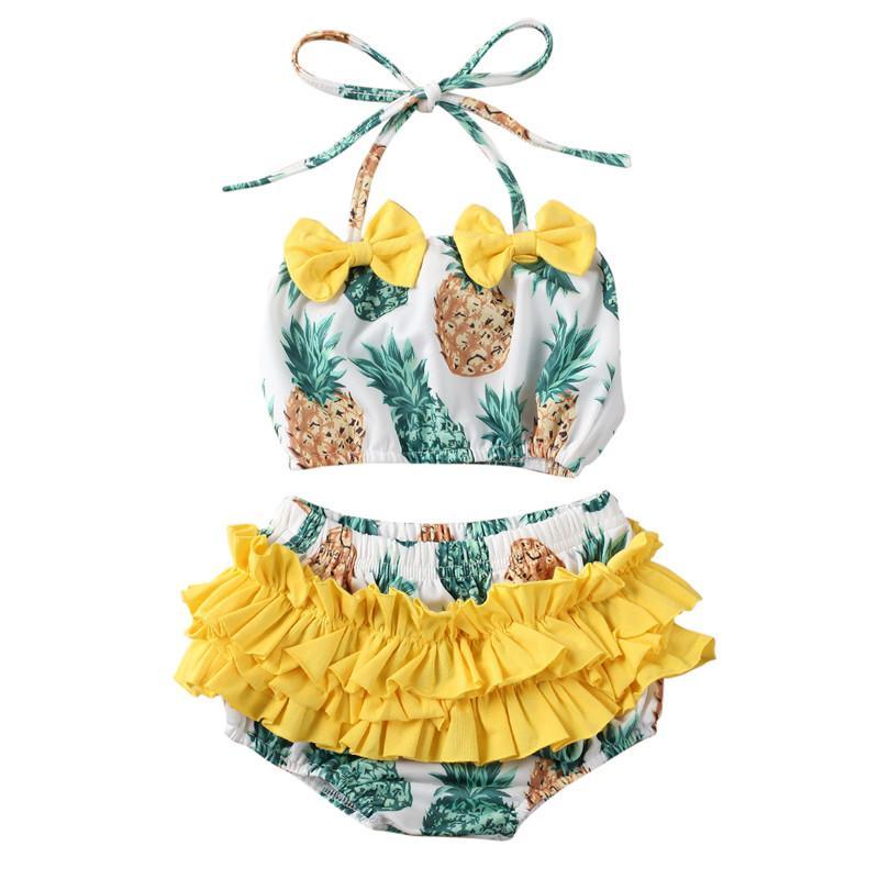 الحرة الشحن بنات صيف الطفل الأناناس طباعة ملابس أطفال الأطفال بيكيني 2PCS مجموعة ملابس السباحة