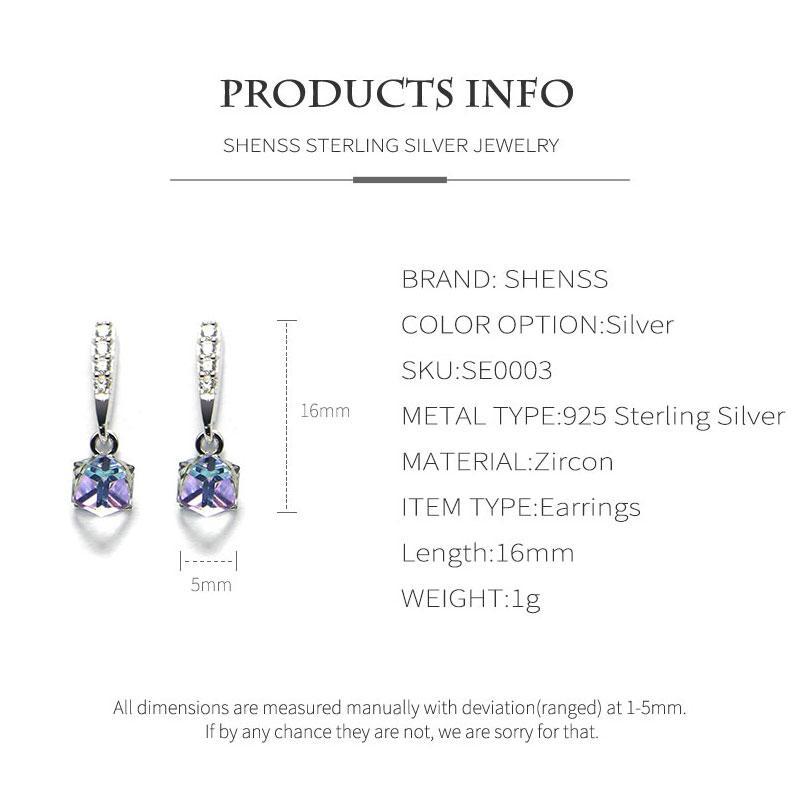 New 925 Sterling Silver Earrings For Women Girls Gift Sweet Zircon Geometric Rectangle