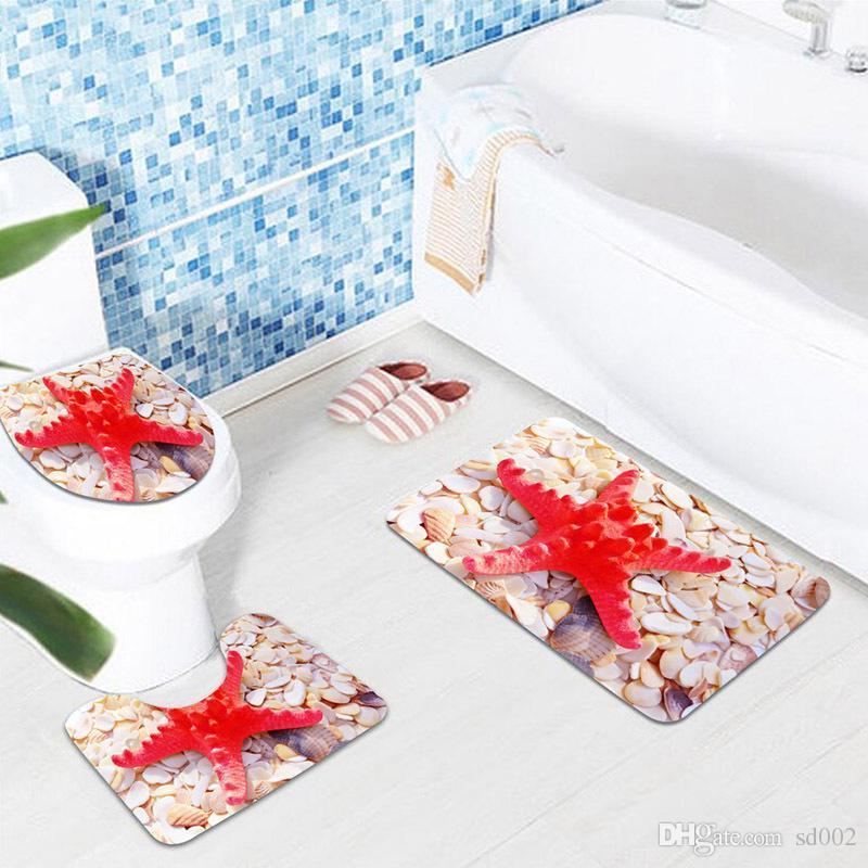 3D igienici Sticker bagno resistente all'usura Blue Ocean Style piedistallo Acqua assorbimento Rug coperchio copertura stuoia di bagno in camera Decoration 30hj dd