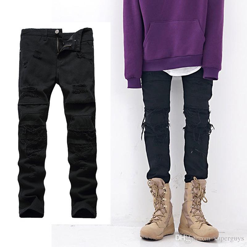 Slim Fit Erkek Kot Skinny Motosiklet Moto Biker Erkek Denim Pantolon Hip Hop Highstreet Erkekler Jeans A999 Ripped