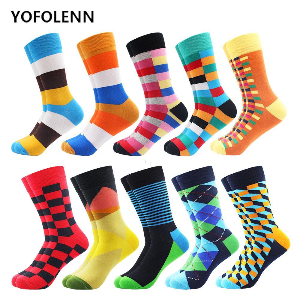 10 Çift / grup Parlak Çok Renkli Lüks Çizgili Argyle Erkekler Elbise Çorap Penye Pamuk Trendy Düğün Komik Yenilik Ekip Çorap