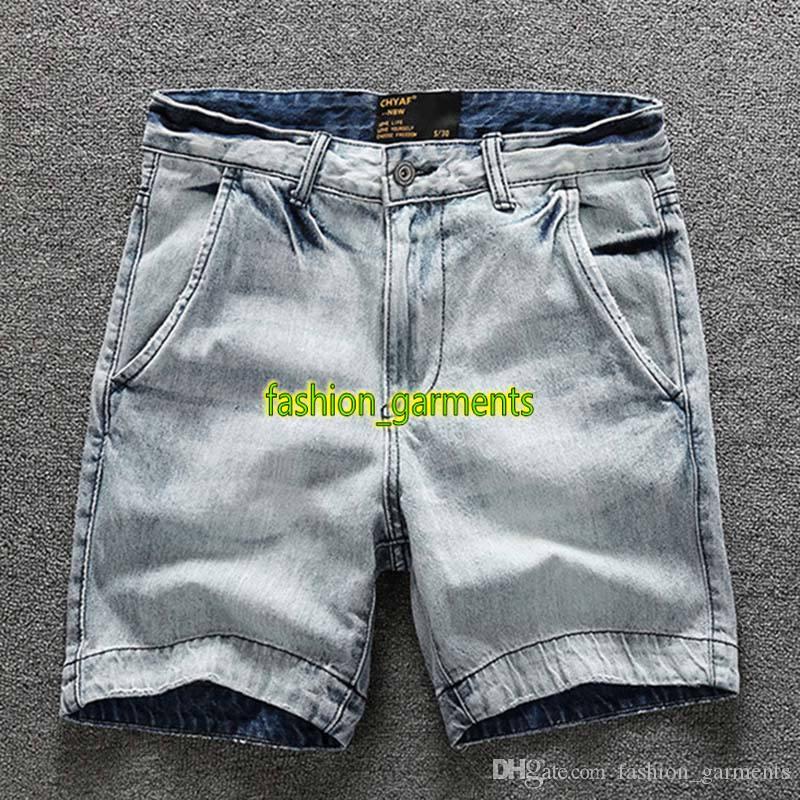 2019 Nueva pantalones cortos de mezclilla para hombre verano Tooling Pantalones cortos para hombre lavados viejos pantalones rectos para hombre de alta calidad de los pantalones vaqueros pantalones forman estilista