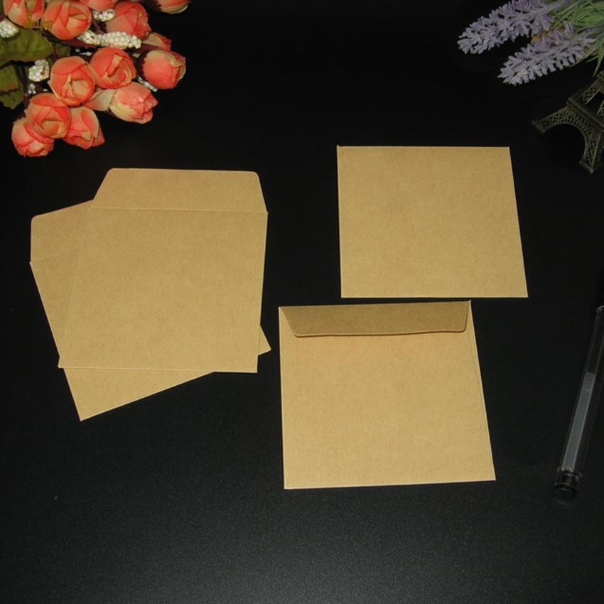 100 Pçs / lote quadrado 8x8 cm Kraft marrom / branco / bege Envelopes Quadrados pequeno cartão de envelope banco cartão envelope escritório