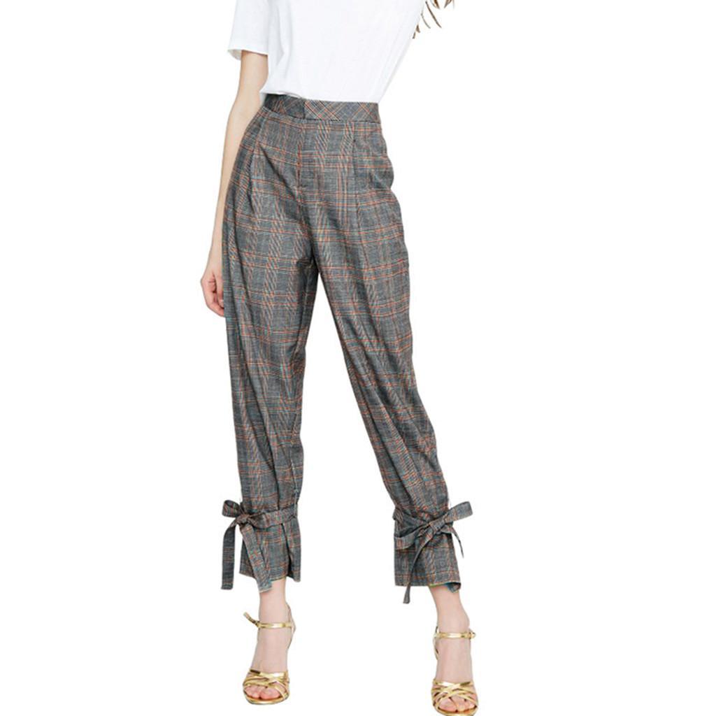 comprar baratas a7e0d 070f2 Compre 2019 Moda Pantalones Mujer Casual Plaid Impresión Pantalones  Pantalones Para Mujer Damas Sueltas Tallas Grandes Pantalon Mujer A $27.23  Del ...