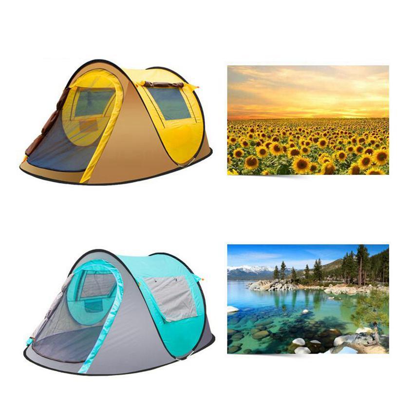 야외 텐트 완전 자동 열기 인스턴트 휴대용 비치 텐트 비치 보호소 하이킹 캠핑 가족 텐트 2-4 사람 ZZA657