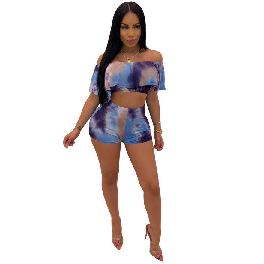 Kobiety Zestawy Hole Drukuj Butterfly Sleeve Crop Top Szorty Garnitur Dwa kawałek zestaw dres