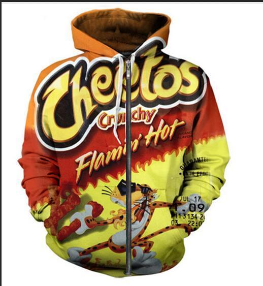 Neue Art und Weise Unisex Sweatshirt Pullover Männer Frauen Hot Cheetos Sweatshirts Harajuku Maxi-Reißverschluss-Jacken-Kleidung