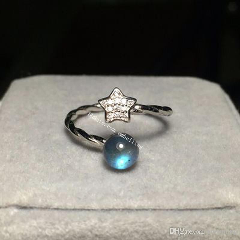 5pcs autentico 5-6mm casuale grigio blu arcobaleno flash naturale labradorite pietra preziosa e stella anello aperto 925 sterling silver twisted anello regolabile