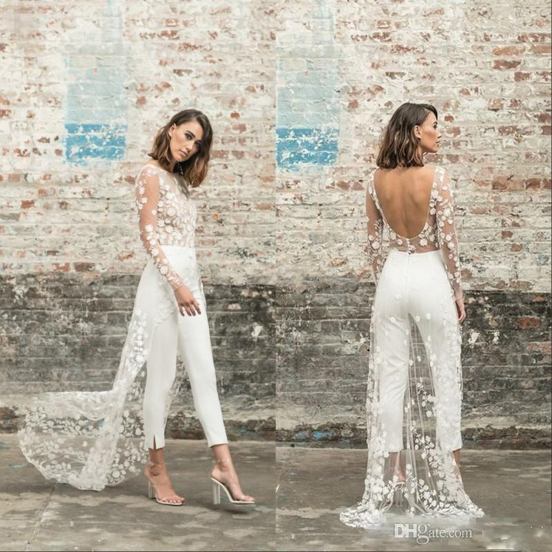 2020 Jumpsuit Beach Wedding Dresses Jewel Neck Long Sleeve Backless Ankle Length Bridal Outfit Lace Summer Boho Wedding Gowns