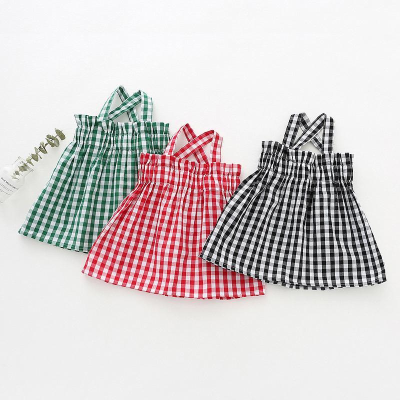 Kız bebekler Gömlek Yaz Giyim Klasik Ekose Bluzlar İçin Kız Gömlek Çocuk Çocuk Dış Giyim Bebek Marka Giyim 1-4Years Tops