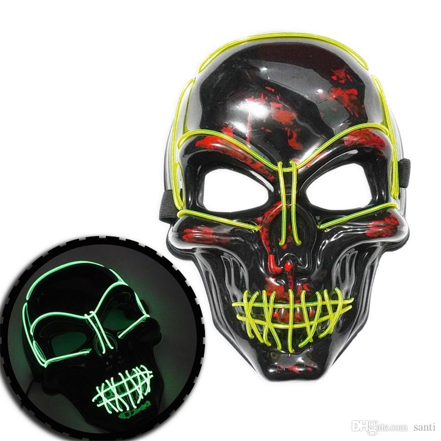 Halloween Mask luz LED até Máscara de esqueleto assustador do crânio por Festival Cosplay Halloween Costume Carnival Masquerade Parties 8 cores JK1909