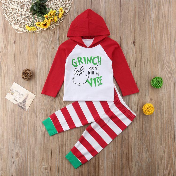 Navidad de los niños del bebé sistemas de la ropa de navidad impreso de manga larga con capucha top + pantalones a rayas de dos piezas Conjunto niños ropa de diseño ZJY655