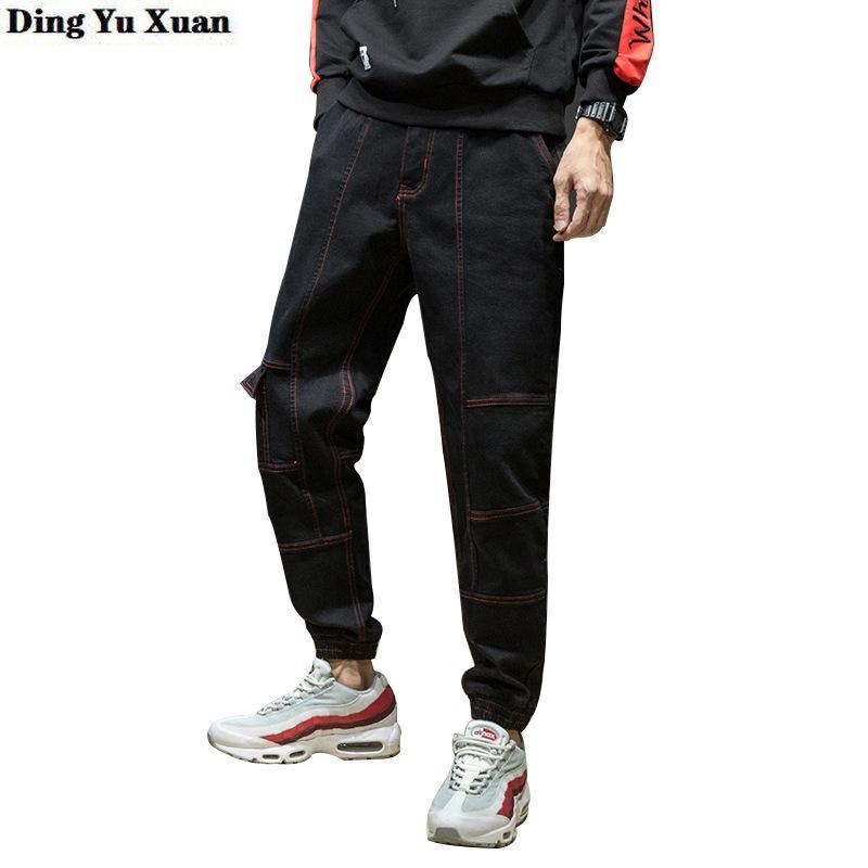 2020 High Street Moda Erkek Jeans Gevşek Fit Harem Pantolon Siyah Punk Tarzı Hip Erkekler Artı Boyutu Hop Jogger Jeans Kargo Pantolon 42