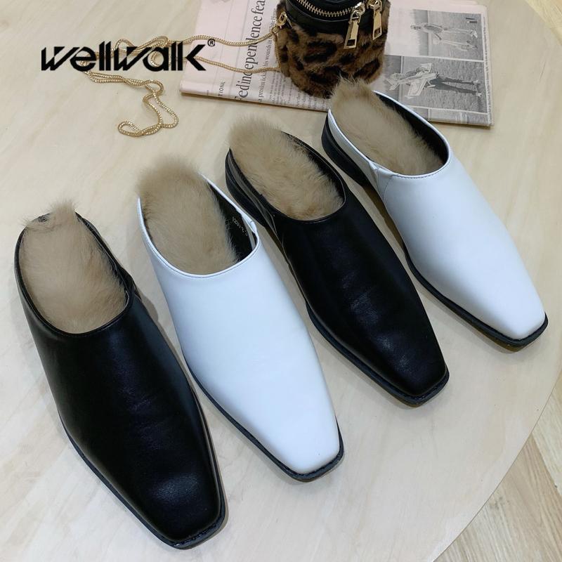 Fur Início sapatos femininos Flats Chinelos Slip On Plush Loafers Feminino Inverno Furry Slides Woman House fuzzy sapatos mulas Verde 2020