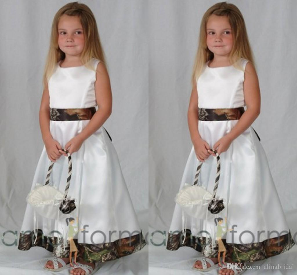 Cheville longueur Camo fleur Robes pour le mariage Stain Crew A Cute Line Pageants Robes pour les filles 2016