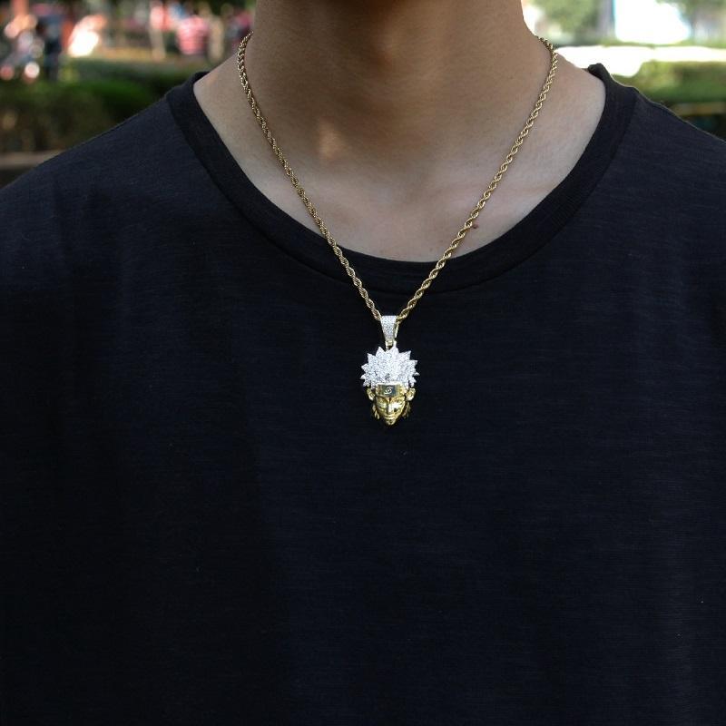 Moda- Character Pingente New Mens Hip Hop Anime Naruto Pingente Colar Moda Ouro 14k jóias colar de corrente