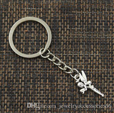 Angelo argento ciondolo fascini 20pcs / lot dei monili di Keychain dell'anello chiave per gli accessori chiave all'ingrosso