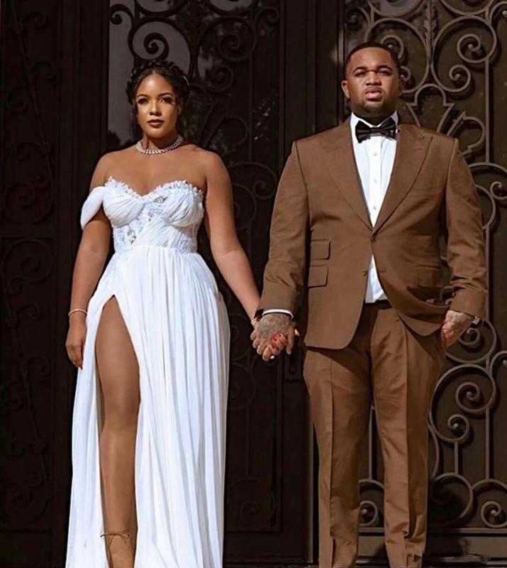2020 Plus Size Abiti da sposa laterale Split Innamorato chiffon di Boho vestido de novia Dress African Beach da sposa