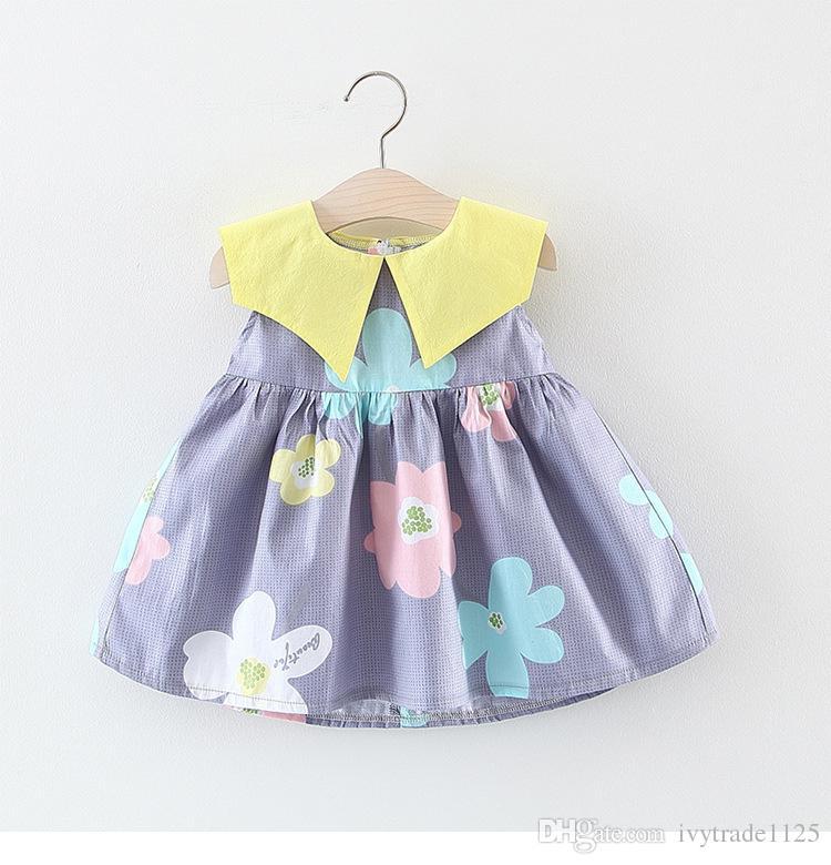 kids Girl clothes Dress Summer Sleeveless big collar big flower Design Dress Princess Girl Clothing Dress