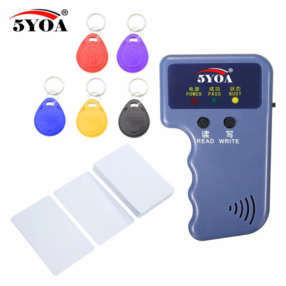 RFID Card Reader Video 125KHz EM4100 Copier Duplicator + EM4305 T5577 Rewritable ID Keyfobs Tags Card